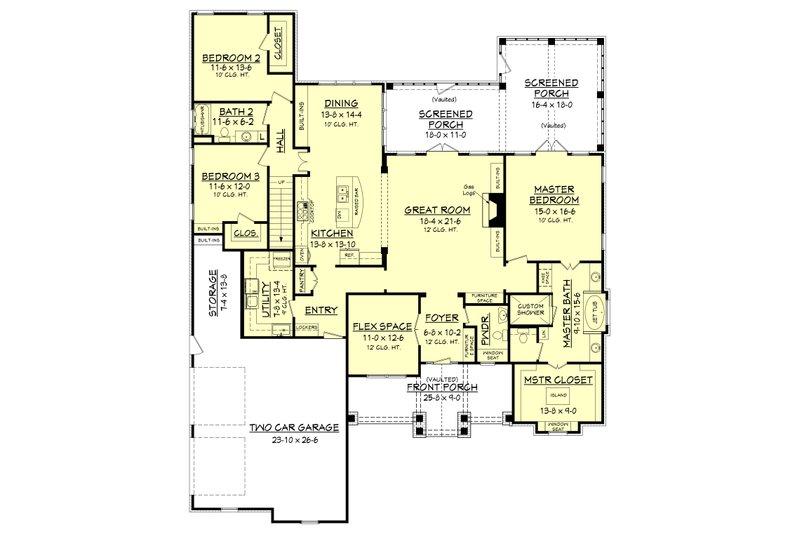 Craftsman Floor Plan - Main Floor Plan Plan #430-148