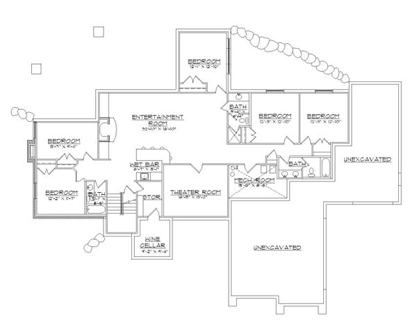 Dream House Plan - Craftsman Floor Plan - Lower Floor Plan #5-308