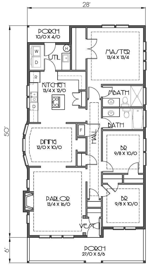 Bungalow Floor Plan - Main Floor Plan #423-55