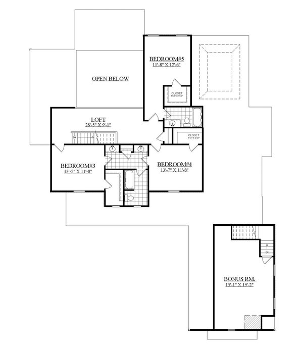 Farmhouse Floor Plan - Upper Floor Plan Plan #1071-8