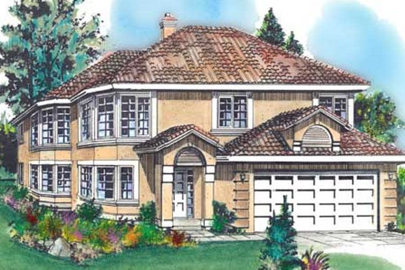 Mediterranean Exterior - Front Elevation Plan #18-222