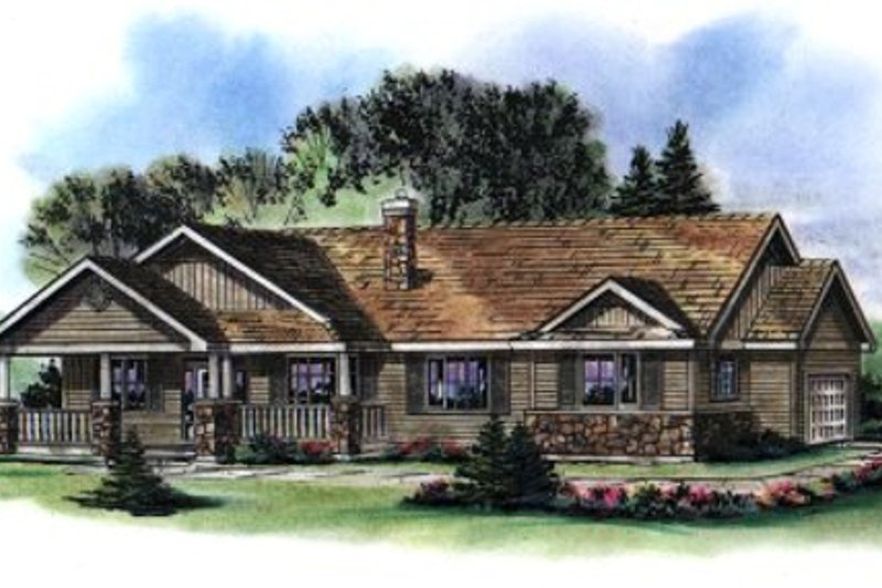 Architectural House Design - Ranch Exterior - Front Elevation Plan #18-1035