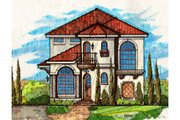 Mediterranean Style House Plan - 4 Beds 3 Baths 3231 Sq/Ft Plan #135-179 Exterior - Front Elevation
