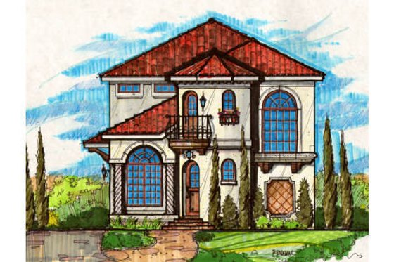 Mediterranean Exterior - Front Elevation Plan #135-179
