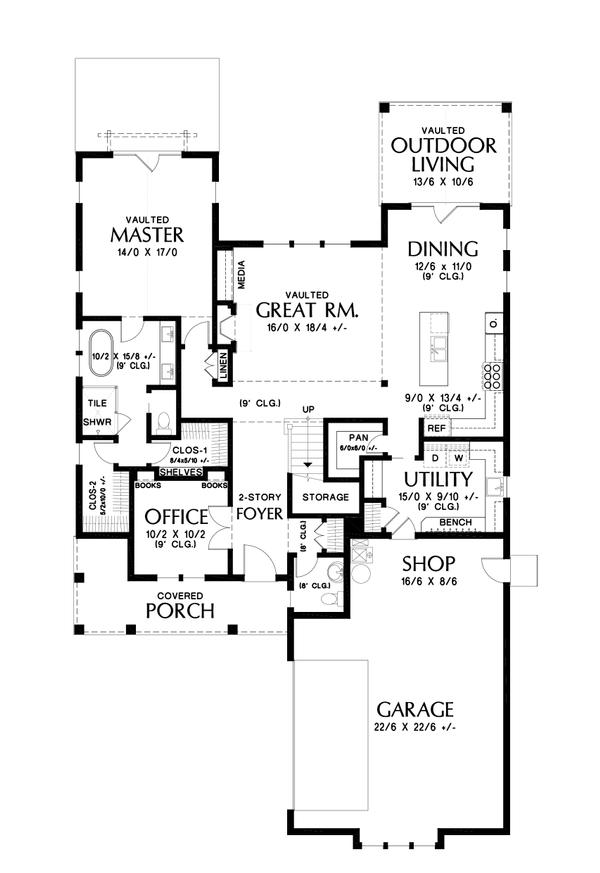Contemporary Floor Plan - Main Floor Plan #48-993