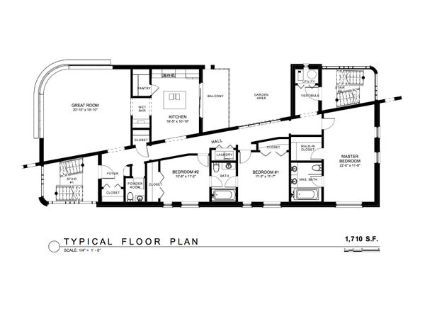 Contemporary Floor Plan - Main Floor Plan Plan #535-22