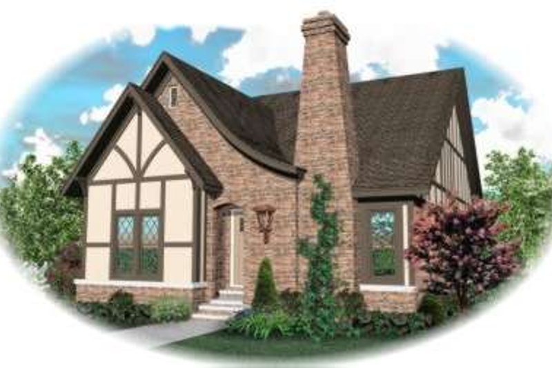 European Style House Plan - 3 Beds 2 Baths 3214 Sq/Ft Plan #81-1554 Exterior - Front Elevation