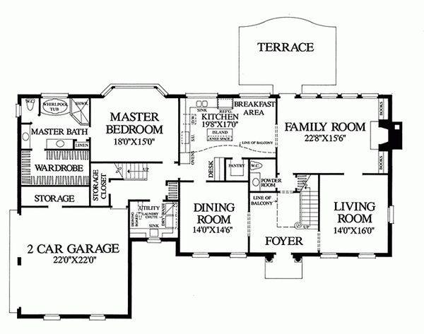 Colonial Floor Plan - Main Floor Plan Plan #137-155