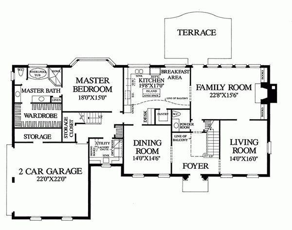 Colonial Floor Plan - Main Floor Plan #137-155