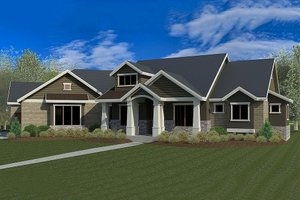Craftsman Exterior - Front Elevation Plan #920-21