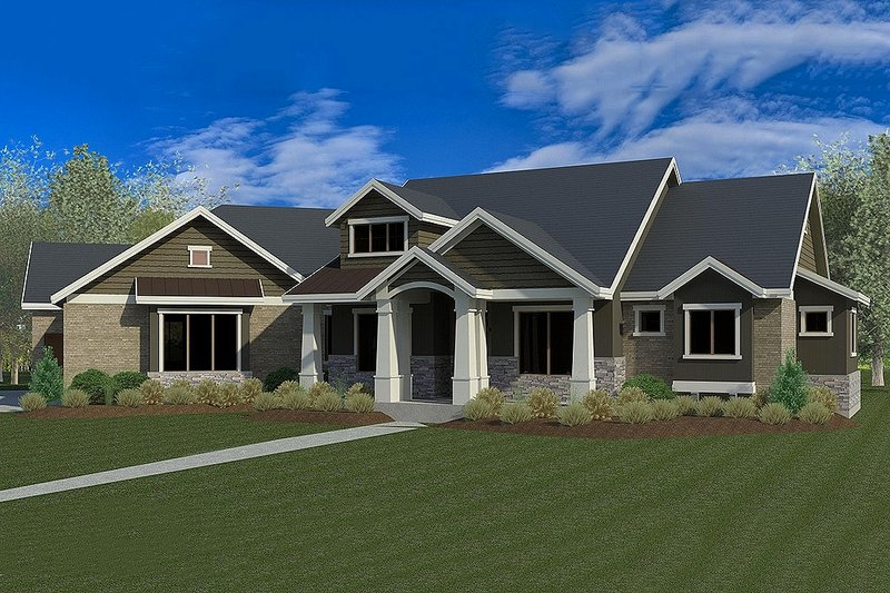 Dream House Plan - Craftsman Exterior - Front Elevation Plan #920-21