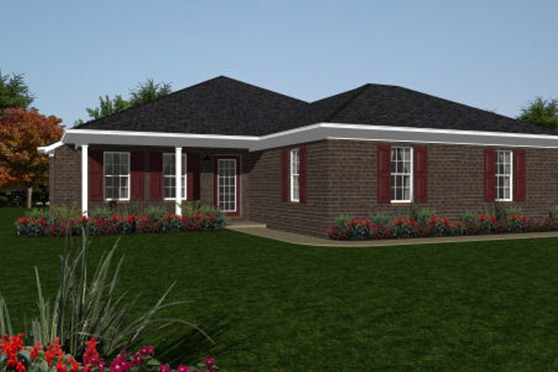 Ranch Style House Plan - 2 Beds 2 Baths 1095 Sq/Ft Plan #14-244 Exterior - Front Elevation