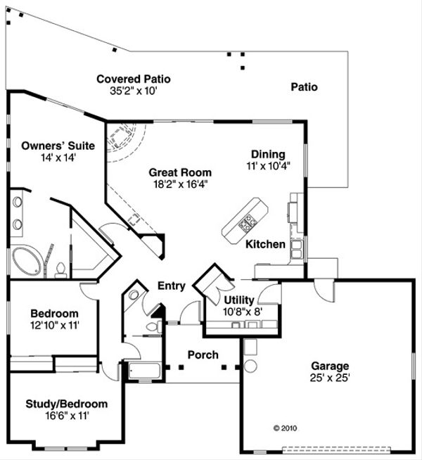Adobe / Southwestern Floor Plan - Main Floor Plan Plan #124-437