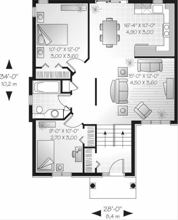 European Floor Plan - Main Floor Plan Plan #23-705