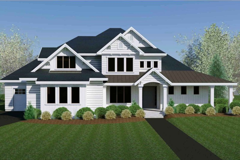 Craftsman Style House Plan - 3 Beds 3.5 Baths 3368 Sq/Ft Plan #920-105 Exterior - Front Elevation