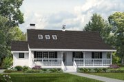Country Style House Plan - 3 Beds 2 Baths 1298 Sq/Ft Plan #47-645 Exterior - Front Elevation