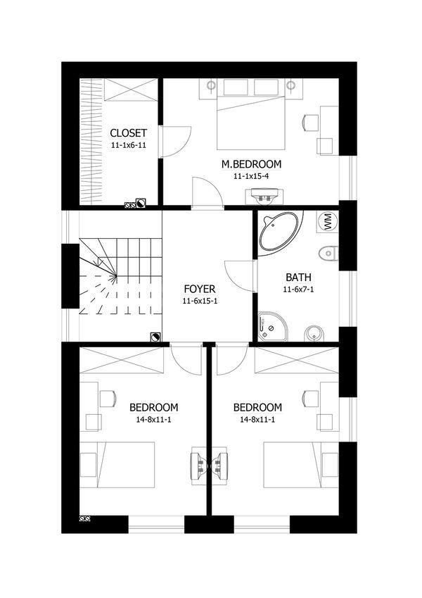 European Floor Plan - Upper Floor Plan #538-16