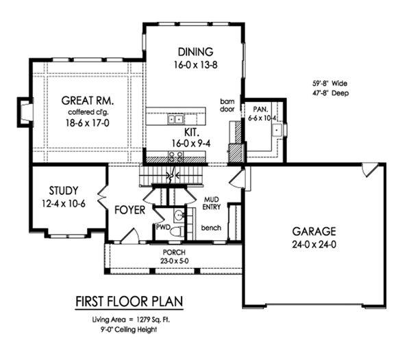 Traditional Floor Plan - Main Floor Plan Plan #1010-247