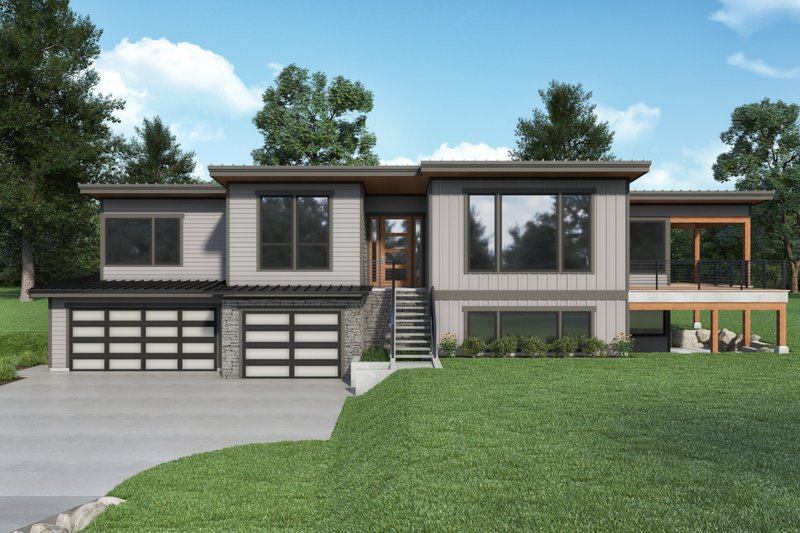 Home Plan - Contemporary Exterior - Front Elevation Plan #1070-136