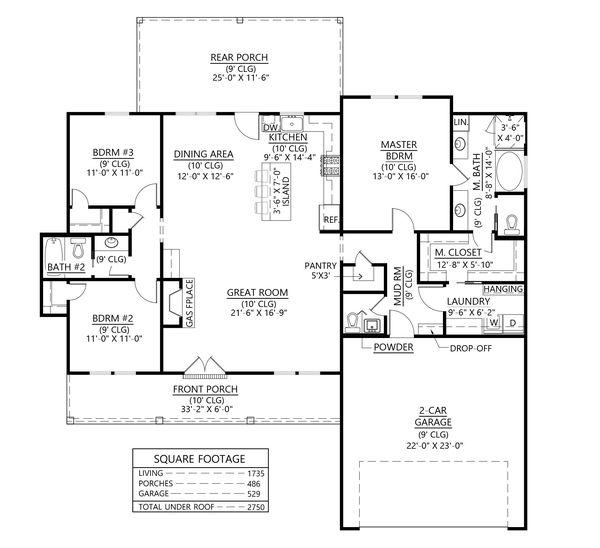Dream House Plan - Farmhouse Floor Plan - Main Floor Plan #1074-45