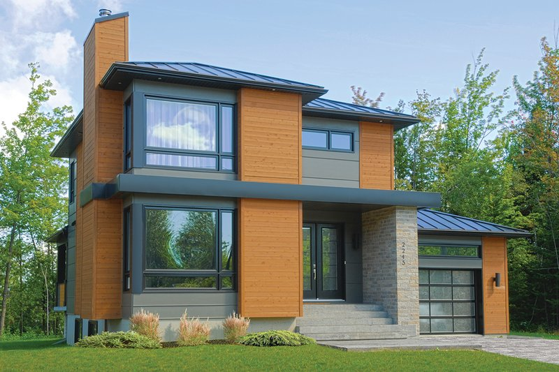 House Plan Design - Front View - 1850 square foot modern home