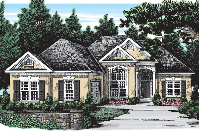 European Style House Plan - 3 Beds 2.5 Baths 1891 Sq/Ft Plan #927-30 Exterior - Front Elevation