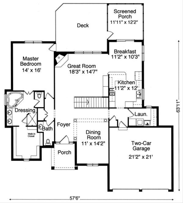 Country Floor Plan - Main Floor Plan Plan #46-678