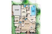 European Style House Plan - 3 Beds 3 Baths 2679 Sq/Ft Plan #27-439 Floor Plan - Main Floor