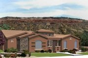 Adobe / Southwestern Style House Plan - 4 Beds 2 Baths 2031 Sq/Ft Plan #24-239 Exterior - Front Elevation