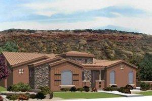 Adobe / Southwestern Exterior - Front Elevation Plan #24-239