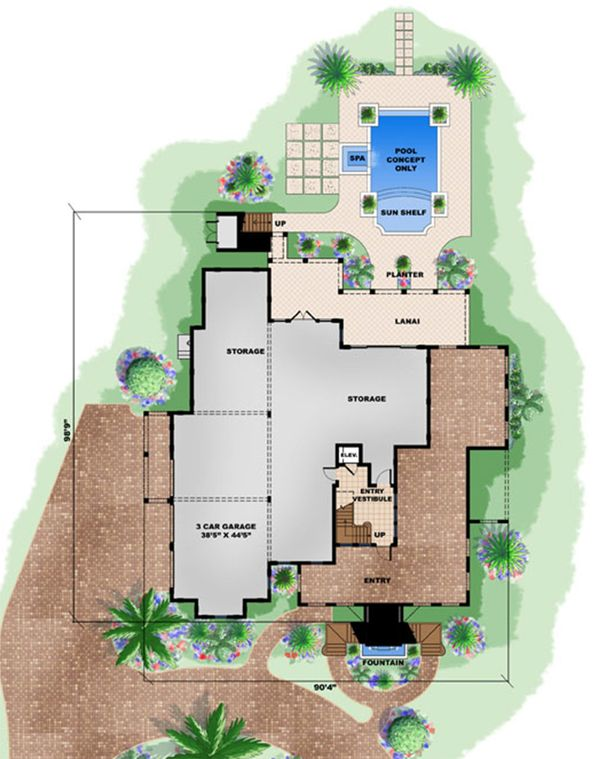 Beach Floor Plan - Lower Floor Plan Plan #27-480