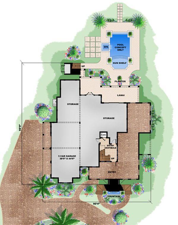 Beach Floor Plan - Lower Floor Plan #27-480