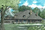 European Style House Plan - 6 Beds 7.5 Baths 6024 Sq/Ft Plan #17-2538 Exterior - Rear Elevation