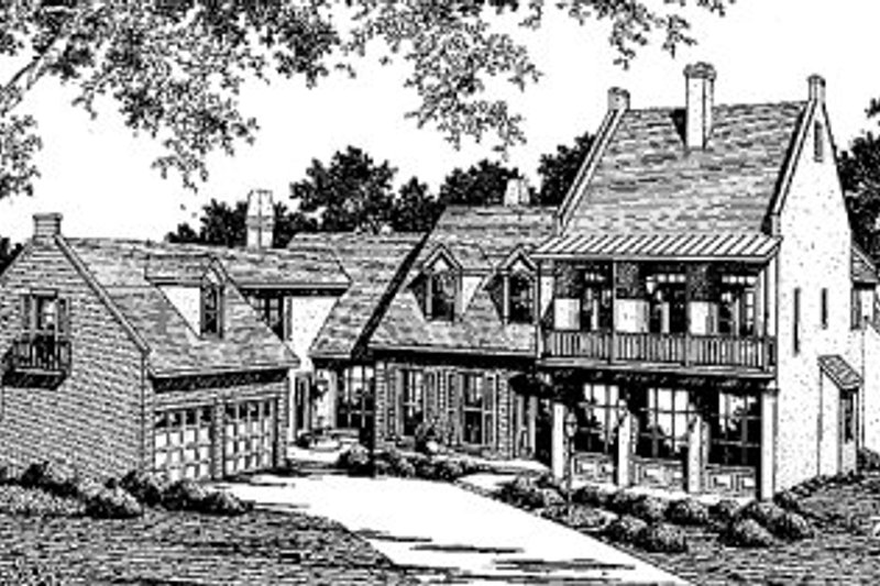 European Style House Plan - 3 Beds 3.5 Baths 4420 Sq/Ft Plan #41-168 Exterior - Front Elevation