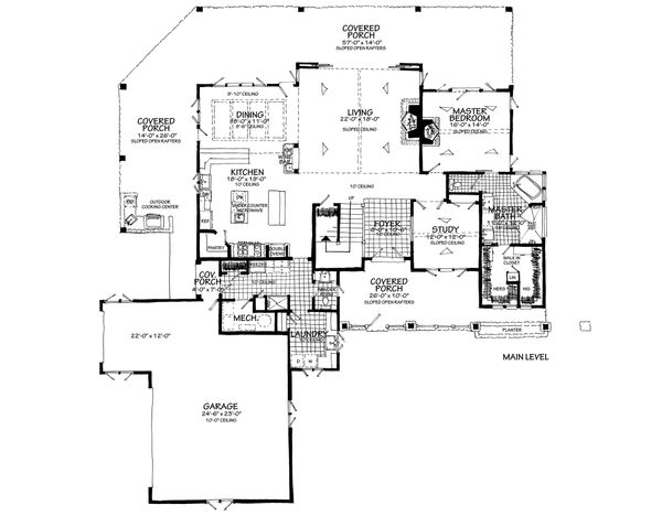 Country Floor Plan - Main Floor Plan Plan #942-56