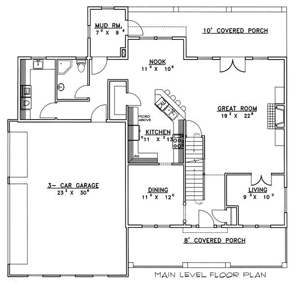 Bungalow Floor Plan - Main Floor Plan Plan #117-540