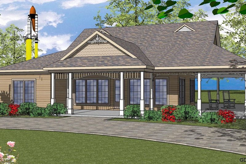 Country Style House Plan - 2 Beds 2.5 Baths 2870 Sq/Ft Plan #8-252 Exterior - Front Elevation