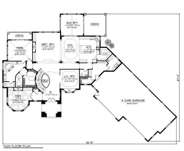 European Floor Plan - Main Floor Plan Plan #70-1150