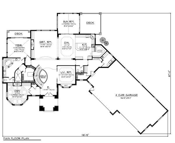 European Floor Plan - Main Floor Plan Plan #70-1150