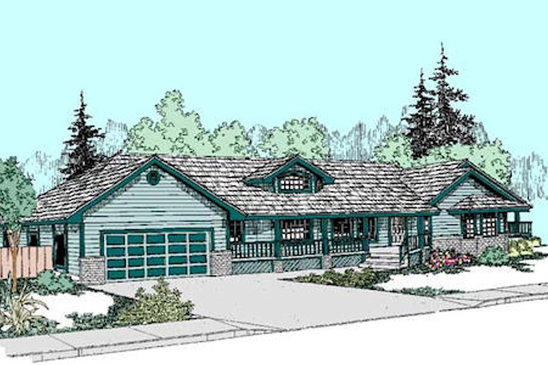 Ranch Style House Plan - 3 Beds 3 Baths 1717 Sq/Ft Plan #60-268 Exterior - Front Elevation