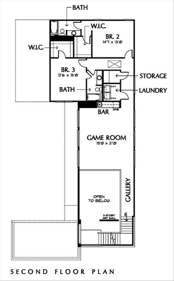 Modern Floor Plan - Upper Floor Plan Plan #449-2