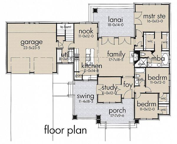 Craftsman Style House Plan - 3 Beds 2 Baths 1879 Sq/Ft Plan #120-187 Floor Plan - Main Floor Plan