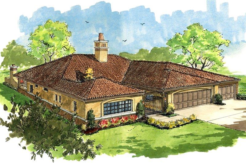 Architectural House Design - Adobe / Southwestern Exterior - Front Elevation Plan #942-48