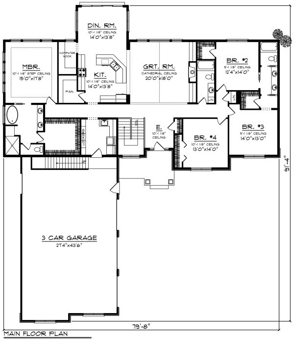 Craftsman Floor Plan - Main Floor Plan #70-1282