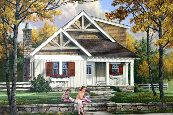 Cottage Exterior - Front Elevation Plan #137-272