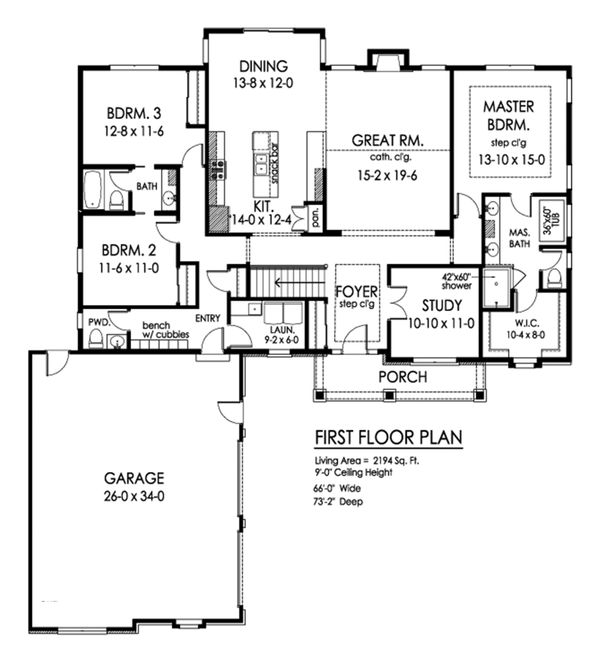 Farmhouse Floor Plan - Main Floor Plan Plan #1010-244
