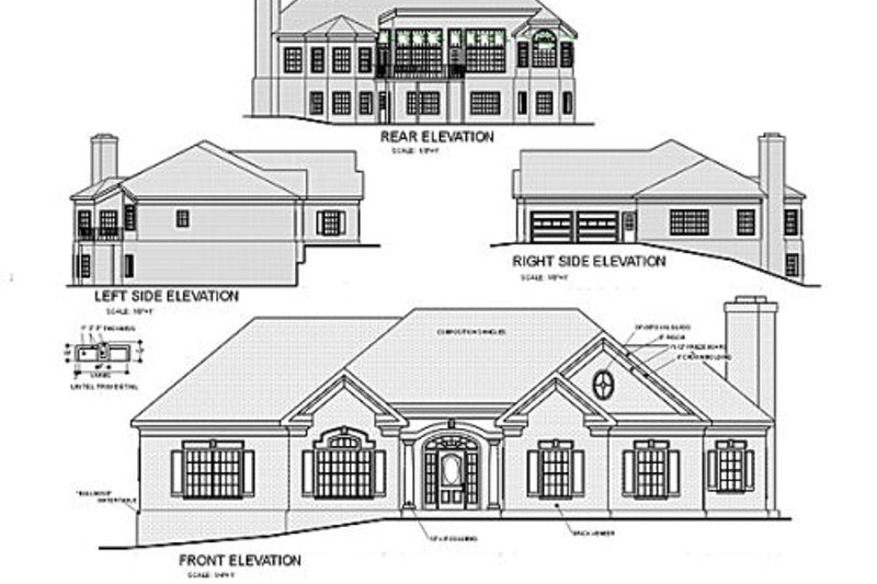 Southern Exterior - Rear Elevation Plan #56-177 - Houseplans.com