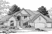 European Style House Plan - 4 Beds 3.5 Baths 2750 Sq/Ft Plan #70-436 Exterior - Front Elevation