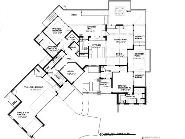 Contemporary Style House Plan - 4 Beds 3.5 Baths 2911 Sq/Ft Plan #895-27 Floor Plan - Main Floor Plan