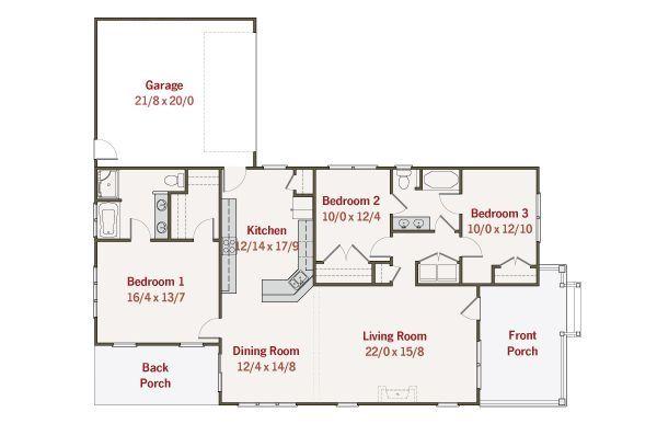 Craftsman Floor Plan - Main Floor Plan Plan #461-27